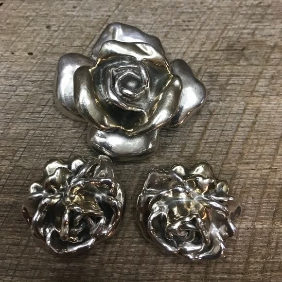 99a31bc2f99 Jewelry | Large 925 Sterling Silver Rose Brooch Earrings | Poshmark